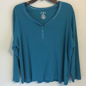 White Stag Satin Trim Vneck Turquoise Top 2X Plus